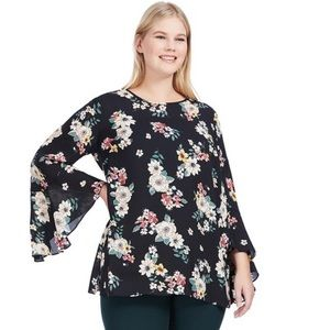 Vince Camuto Flared Sleeve Floral Blouse